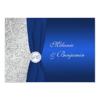 "PRINTED RIBBON Navy Silver Damask Wedding Invite 5"" X 7"" Invitation Card"