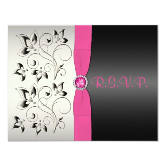 PRINTED RIBBON Pink Black Silver Floral Reply Card