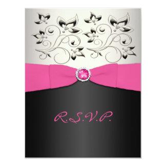 PRINTED RIBBON Pink, Black, Silver RSVP Card