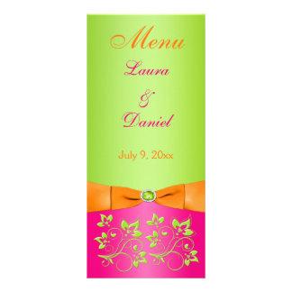 PRINTED RIBBON Pink Orange Lime Floral Menu Card Rack Cards