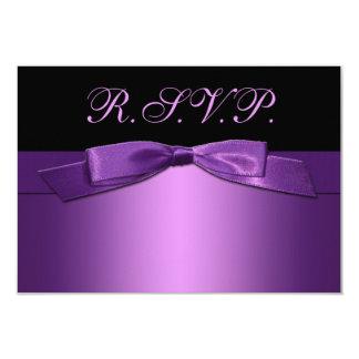 PRINTED RIBBON Purple, Black Reply Card 9 Cm X 13 Cm Invitation Card