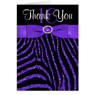 PRINTED RIBBON Purple, Black Zebra Thank You Card