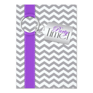 PRINTED RIBBON Purple Gray White 21 Birthday Party Card
