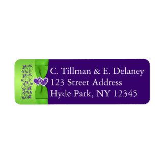 PRINTED RIBBON Purple, Green Wedding Address Label