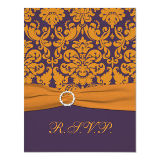 PRINTED RIBBON Purple, Orange Damask RSVP Card 11 Cm X 14 Cm Invitation Card