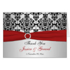 PRINTED RIBBON Red Silver Black Thank You Card II