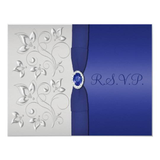 PRINTED RIBBON Silver and Navy RSVP Card
