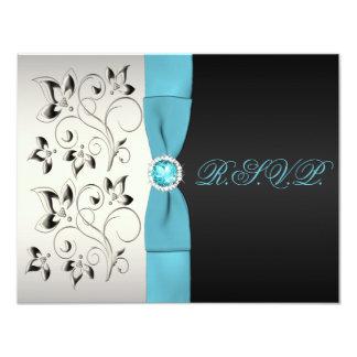 PRINTED RIBBON Silver Aqua Black Floral Reply Card 11 Cm X 14 Cm Invitation Card