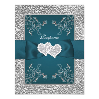 PRINTED RIBBON Teal, Grey Joined Hearts RSVP Card