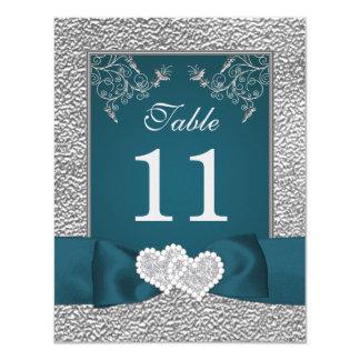 PRINTED RIBBON Teal Grey Joined Hearts Table Card