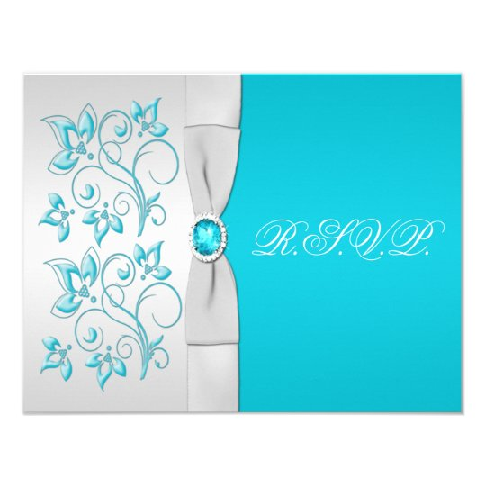 PRINTED RIBBON Turquoise, Silver Floral RSVP Card