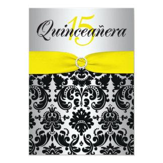 PRINTED RIBBON Yellow Silver Black Quinceanera Invitations