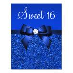 Printed Royal Blue Sequins, Bow & Diamond Sweet 16 11 Cm X 14 Cm Invitation Card