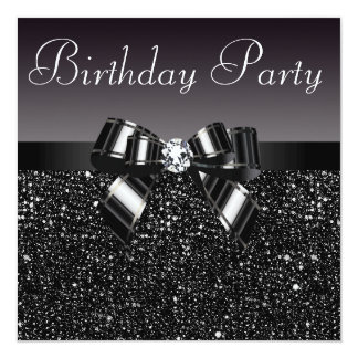 Printed Sequins, Bow & Diamond  Birthday Party 13 Cm X 13 Cm Square Invitation Card