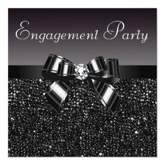 Printed Sequins, Bow & Diamond Engagement Party 13 Cm X 13 Cm Square Invitation Card