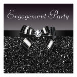 Printed Sequins, Bow & Diamond Engagement Party Personalized Invite