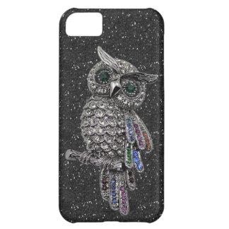 Printed Silver Owl & Jewels Black Glitter iPhone 5C Case