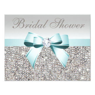 Printed Silver Sequin Teal Bow Image Bridal Shower 11 Cm X 14 Cm Invitation Card