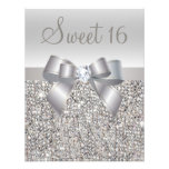 Printed Silver Sequins, Bow & Diamond Sweet 16 Invite