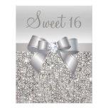 Printed Silver Sequins, Bow & Diamond Sweet 16 Custom Invites