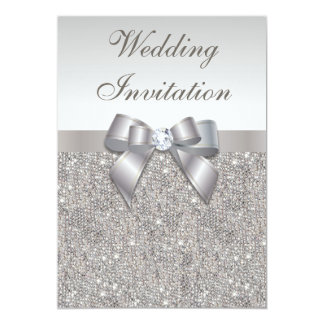 Printed Silver Sequins Diamonds and Bow Wedding 13 Cm X 18 Cm Invitation Card