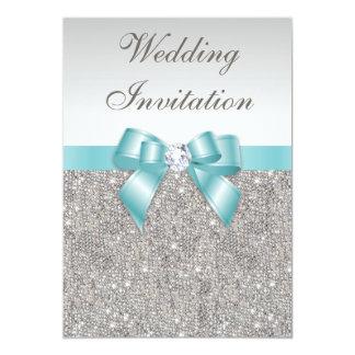 Printed Silver Sequins Diamonds Teal Bow Wedding 13 Cm X 18 Cm Invitation Card