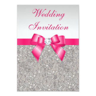Printed Silver Sequins Hot Pink Bow Wedding 13 Cm X 18 Cm Invitation Card