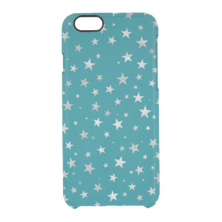 Printed Silver Stars {choose background color} Clear iPhone 6/6S Case
