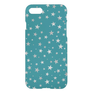 Printed Silver Stars {choose background color} iPhone 7 Case