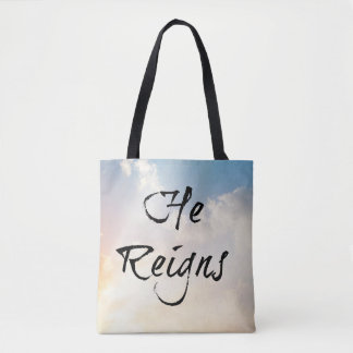 Printed Tote Bag, He Reigns