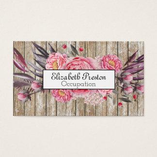 Printed Wood Pink Peony Bloom Floral Business Card