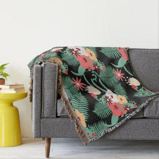 printing of flowers throw blanket