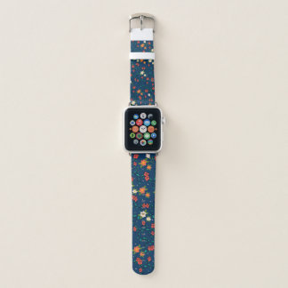 printing of flowers with blue bottom apple watch band