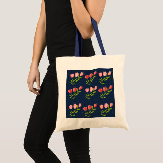 printing of tulips tote bag