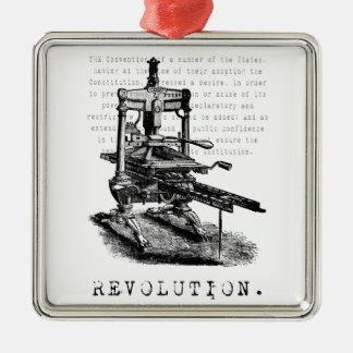 Printing Press = REVOLUTION! Metal Ornament
