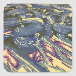 Printmaking Magic in Blues and Purples Square Sticker
