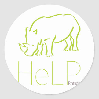 Priority species: Rhinos Classic Round Sticker