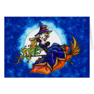 """Priscilla"" Halloween Witch Fantasy Fairy Greeting Card"