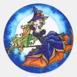 Priscilla Witch Halloween Fantasy Fairy Round Sticker