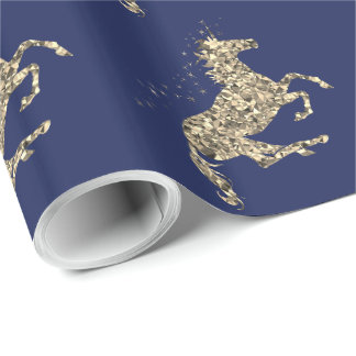 Prismatic gold unicorn blue Wrapping Paper