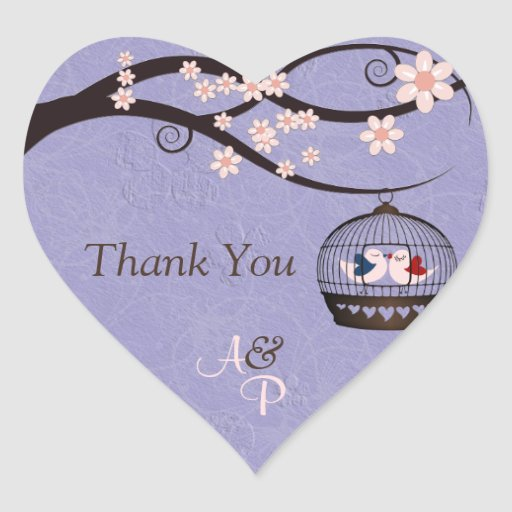 Prisoners of Love Violet Thank You Wedding Sticker