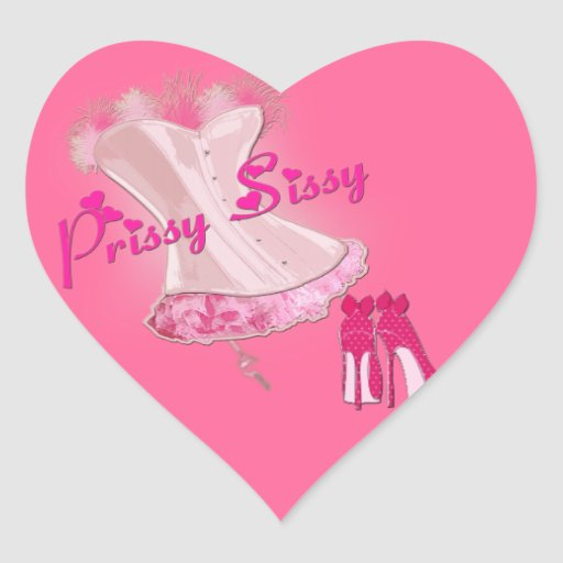 PRISSY SISSY - Pink Feathered Corset Heart Stickers