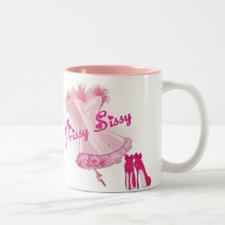 PRISSY SISSY - Pink Feathered Corset Two-Tone Coffee Mug