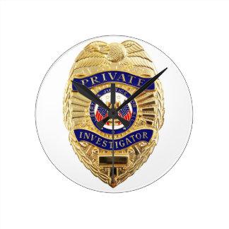 Private Investigator Badge Round Clock
