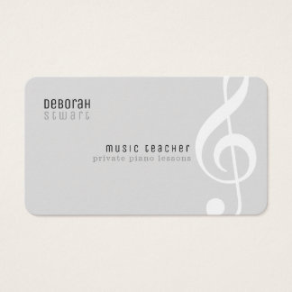 private lessons music teacher pale gray business card