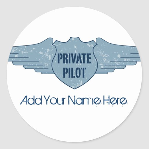 Private Pilot Blue Wings Round Sticker