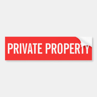 Private property red and white sticker