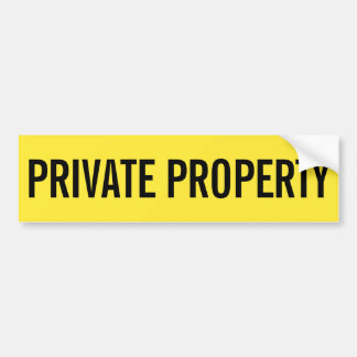 Private property yellow and black sticker