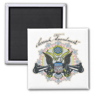 Pro 2nd Amendment Gun-Toting Eagle Gear Square Magnet