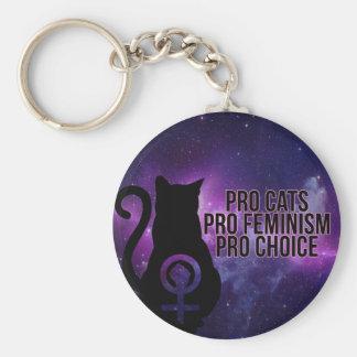 Pro Cats, Pro Feminism, Pro Choice. Basic Round Button Key Ring